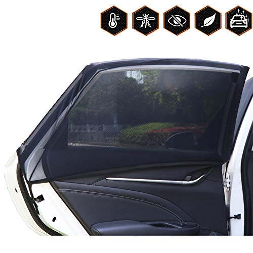 Coverify Side Window Shade Rear for Baby and Kids Breathable Side Window Mesh Easy to Install, Backseat Sun Shade Full Contoured Windows Protect Car Window Bug Screens 2-Pack