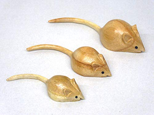 Eden Gifts SET OF 3 Hand Carved Wooden Mice Mouse Family.