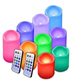 Enido Flameless Candles Led Candles Waterproof Outdoor Candles Color Changing Candle with Remote Control Pack of 9 Plastic(D3' x H4'5'6')Color Flameless Candles (Battery not Included)Pillar Candles