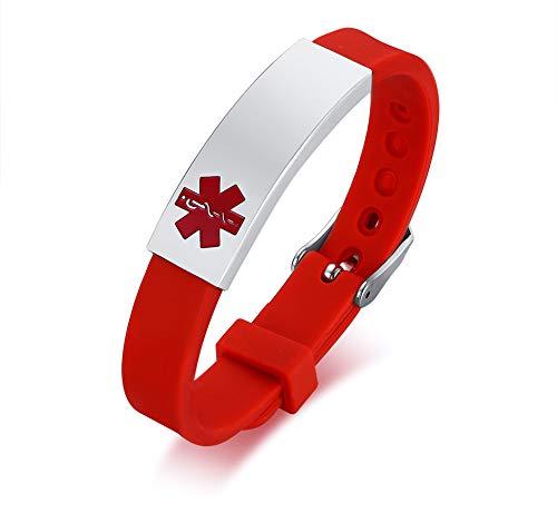 VNOX Rojo Acero Inoxidable Personalizado de Alerta Médica Pulsera de Silicona Ajustable,Grabado Gratis