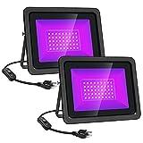 2 paquetes de luces negras 5 0w LED Luces púrpuras negras Luz de inundación con enchufe y interruptor for la fiesta de Blacklight, iluminación de escenarios, acuario, pintura corporal