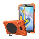 Uonlytech PC Tablet Cover, Full-covered Tablet Cover with 360 Degree Rotatable Kickstand, Anti-scratch Protective Case Cover for Tablet SM- A8 T387 (Orange) -