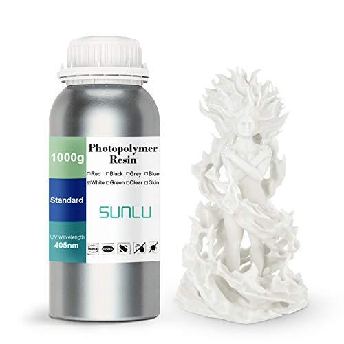 SUNLU 3D Printer Rapid Resin LCD UV-Curing Resin 405nm Standard Photopolymer Resin for LCD 3D Printing 1000 gram, White