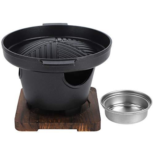 Parrilla de Barbacoa Coreana Parrilla de Carbón Sartén Antiadherente Sin Humo Teppanyaki Saludable Olla de Barbacoa de Carbón Redonda para Consumo y Comercial
