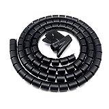 Ymwave Cable Espiral,Cable Flexible en Espiral 28MM*2M,Para Cable en Casa u Oficina TV,Computadora -Negro