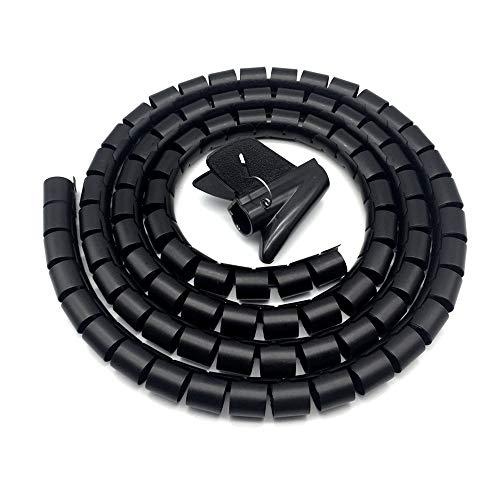 Ymwave Spirale Avvolgi Cavo Flessibile,Guaina Spiralata per Cavi 28mm x 2m con Inseritore,per TV Wire Computer Cable su casa o Ufficio -Nero