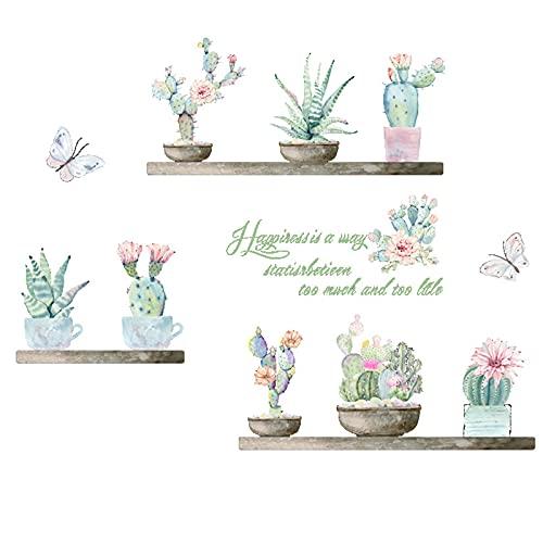 milaosk Pegatinas de Pared Cactus Vinilos Pared Decorativos Arte de Bricolaje Pegatina Mural Para Dormitorio Sala de Estar Cuarto de los Niños (30*90cm)