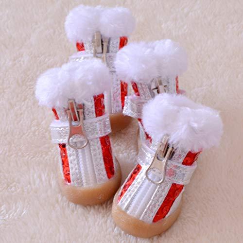 AMURAO Starker Schnee-Schein-Hundeschuhe Winter-warme kleine mittlere Haustier-Aufladungen Reißverschluss-Nicht Schlückchen-Welpen-Schuhe