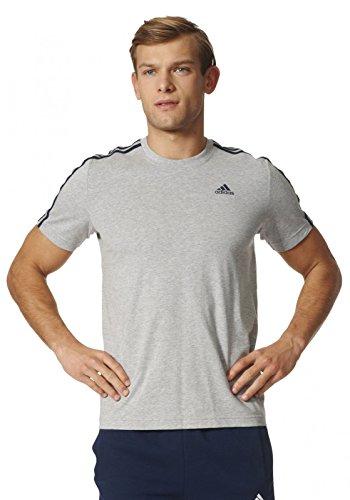 adidas Herren T-Shirt Essentials Classics 3-Stripes, Medium Grey Heather, S, S98722