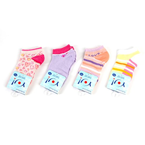 Kindersocken Sneaker Socken für Mädchen 4-er Set gemustert hell SK-08 Gr. 28/30