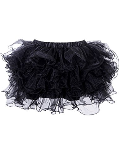 Yummy Bee - Jupe Tutu Froufrous Ra Ra Burlesque Tulle Déguisement Femme Adulte- Grande Taille 34-52 (Noir, 44/46)