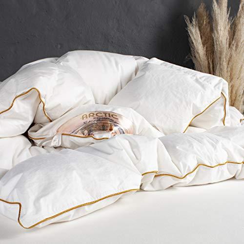ARCTIC Daunendecke Iceland - Luxus Kassettenbett mit 90% weißen Moschusenten-Daunen - DOWNPASS Zertifiziert - Oeko-TEX Standard 100-140 x 200 cm - Weiß