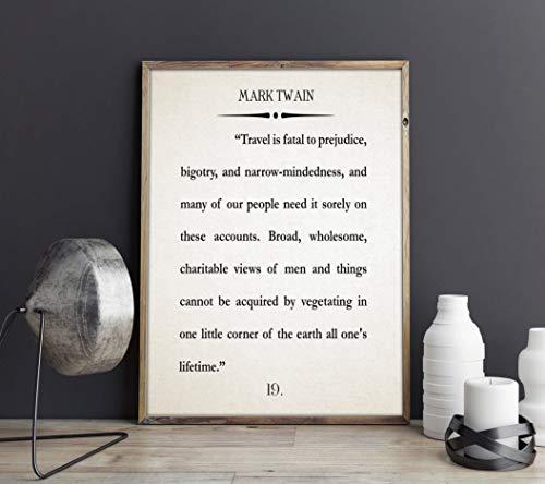 Rac76yd Mark Twain - Póster de libro grande de Mark Twain para pared con texto en inglés 'Art Twain'