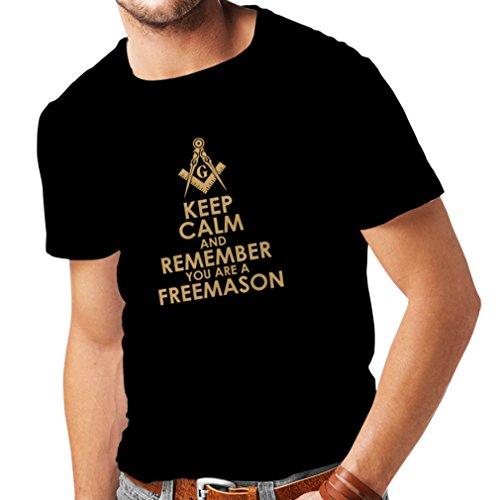 Männer T-Shirt Denken Sie daran, DASS Sie EIN Freimaurer sind - Masonic Winkel und Zirkel (Large Schwarz Gold)