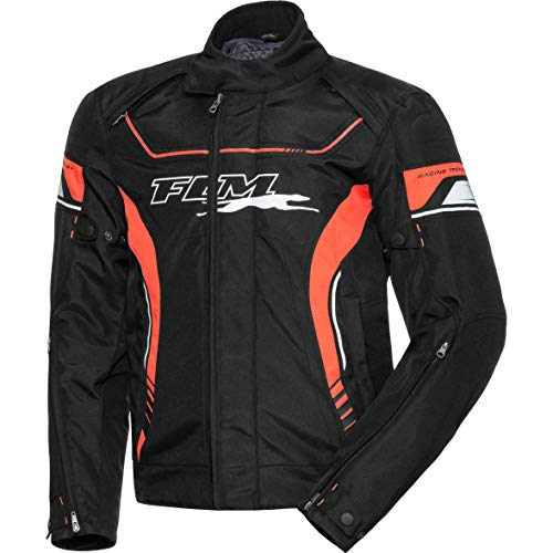 FLM Motorradjacke mit Protektoren Motorrad Jacke Sports Textiljacke 7.0 schwarz/orange XXL, Herren, Sportler, Ganzjährig, Polyester
