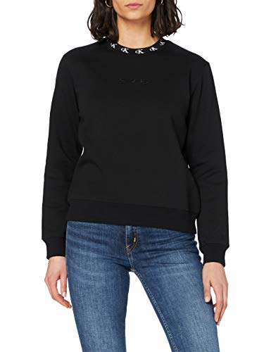 Calvin Klein Jeans Damen Logo Trim Neck Cn Pullover, Ck Black, M