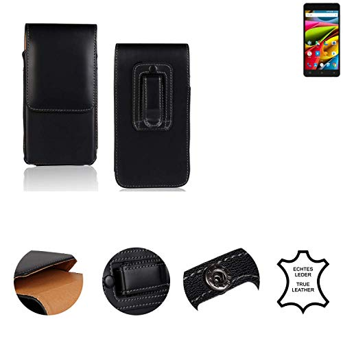 K-S-Trade® Holster Gürtel Tasche Für Archos 55b Cobalt Lite Handy Hülle Leder Schwarz, 1x
