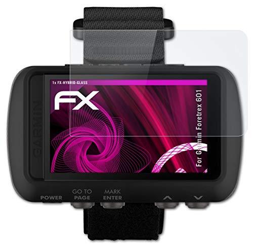 atFoliX Glasfolie kompatibel mit Garmin Foretrex 601 Panzerfolie, 9H Hybrid-Glass FX Schutzpanzer Folie