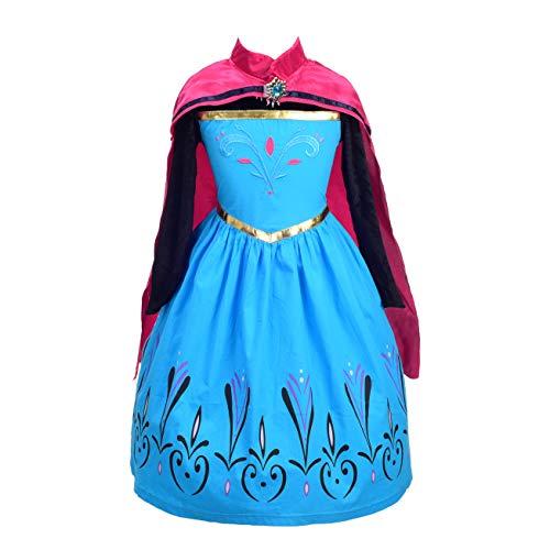 Lito Angels Prinzessin ELSA Krönung Kostüm Kleid für Kleinkind Mädchen, Schneekönigin Krönungskleid mit Umhang Cape, Weihnachten Halloween Karneval Party Verkleidung, Größe 4-5 Jahre 110