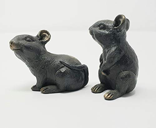 Set of 2 Mice Polyresin Garden Ornament in a Bronze Finish. 6cm tall