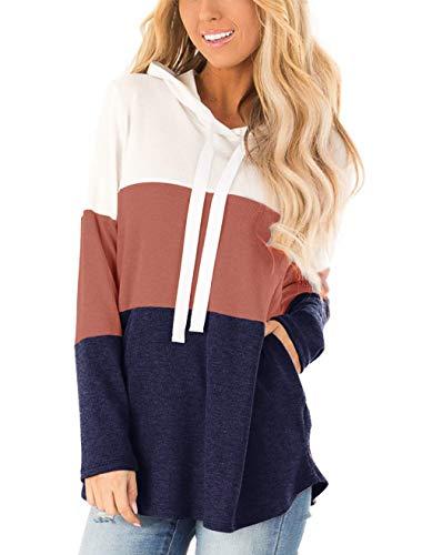 Lantch Damen Hoodies Farbblock Sweatshirt Gestreifte Pullover Casual Kapuzenpullover Langarm Shirts Kordelzug Oberteil mit Taschen(BR-XL)