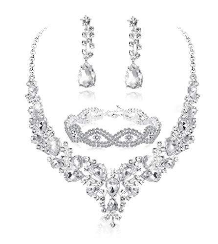 Adramata Conjunto de Joyas de Novia de Cristal para Las Mujeres Rhinestone Collar Pendientes Pulsera Boda Dama de Honor