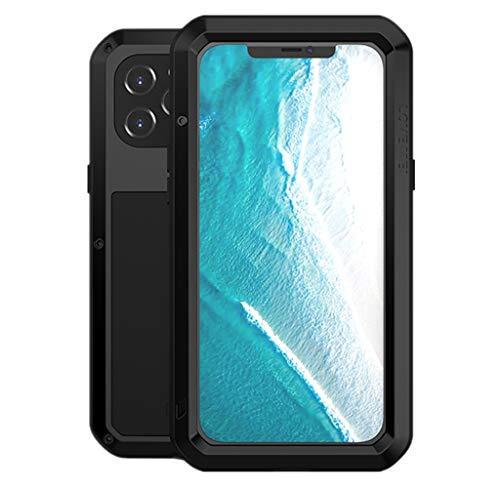 LOVE MEI para iPhone 12 Pro MAX Funda, Heavy Duty Antigolpes Impermeable a Prueba de Polvo Cubierta Híbrido Metal Aluminio+Silicona Funda para iPhone 12 Pro MAX 6.7'' con Vidrio Templado (Negro)