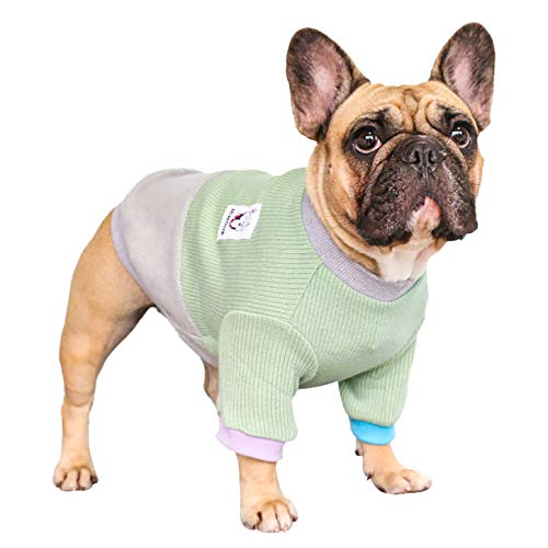 iChoue Pet Dog Crewneck Sweater Color Block Pullover Winter Warm Clothes for French Bulldog Frenchie Pug Puppy - Green and Grey/S