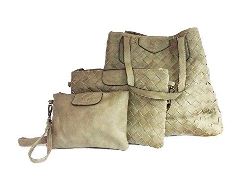 La Loria Damen 3 tlg. Taschen Set - Weave SHFANI Beuteltasche geflochten in Taupe