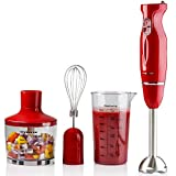 Ovente Immersion Hand Blender Set with Brushed Stainless Steel Blades, 300 Watt Power