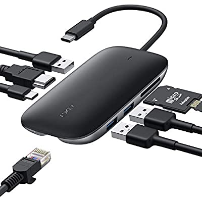 USB C Hub AUKEY 8 in 1 Type C Hub with Ethernet Port, 4K USB C to HDMI, 3 USB 3.0 Ports, 100W USB C Power Delivery Charging, SD/TF Card Reader for MacBook Pro, Chromebook Pixel and Other USB C Laptops