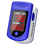 Finger Pulse Oximeter - Nicwell Accurate Oximeter Blood Oxygen Saturation Monitor for SpO2 Levels and Pulse Rate, Heart Rate Monitor with Lanyard