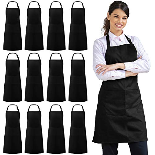 Syntus 12 Pack Bib Apron Waterdrop Resistant with 2 Pockets Cooking Kitchen Apron for Women, Men Chef, BBQ Drawing Apron Bulk, Black