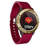 QFSLR Smartwatch,Reloj Inteligente con Monitor De Frecuencia Cardíaca Monitor De Presión Arterial Monitoreo De Oxígeno En Sangre Monitor De Sueño Podómetro,Rojo