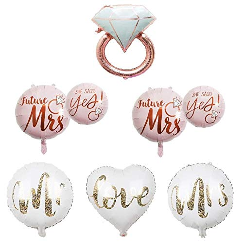 CheeseandU 6Pack Diamond Ring Foil Balloon 22inch Rose Gold She Said Yes Balloon White Gold Mr Mrs Love Foil Balloons Great for Bridal Shower Bride to be Party Wedding Engagement Decoration