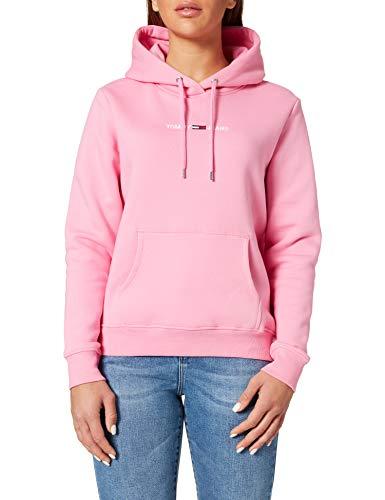 Tommy Jeans Damen TJW LINEAR Logo Hoodie Pullover, Rosa/Gänseblümchendesign, M