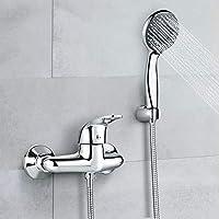 rubinetto miscelatore doccia, dalmo dbwf02fa rubinetto doccia bagno & testa doccia a 3 modalità & tubo flessibile 1.5m & supporto, rubinetto per doccia in ottone massicio e cromatura lucida