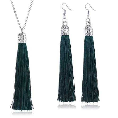 Tuoke-peri Colorful Long Tassel Necklace Dangle Earrings Bohemian Drop Pendant Jewelry Sets for Women and Girls (3 White)