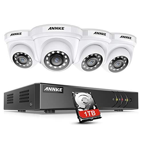 ANNKE Kit de Cámara de Vigilancia 8CH 5MP Lite DVR con 4 Sistema 1080P Cámara de Vigilancia CCTV IP66 Impermeable 20M Visión Nocturna No-Ruido 1TB HDD(Instalado) Sistema de cámara de Seguridad