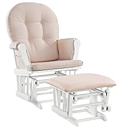 A rocking chair with stool to use at your breastfeeding station.