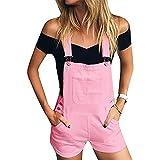 BKPAPTXY Mono corto para mujer, pantalones cortos de mezclilla con bolsillos de los años 90 E-Girls moda tirantes babero mono pierna ancha mameluco pantalones Y2k, rosa, S