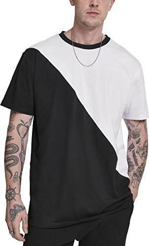 Urban Classics Herren Oversize Asymmetric Harlequin Tee T-Shirt, Mehrfarbig (White/Black 01248), Medium (Herstellergröße: M)