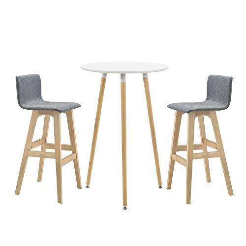 [en.casa] Set de Table Ronde de Bar Rétro Design Tabouret de Bar Plateau en MDF Cadre en Hêtre Dossier Rembourré Siège en Textile Blanc Laqué Mat 70 x 107 cm