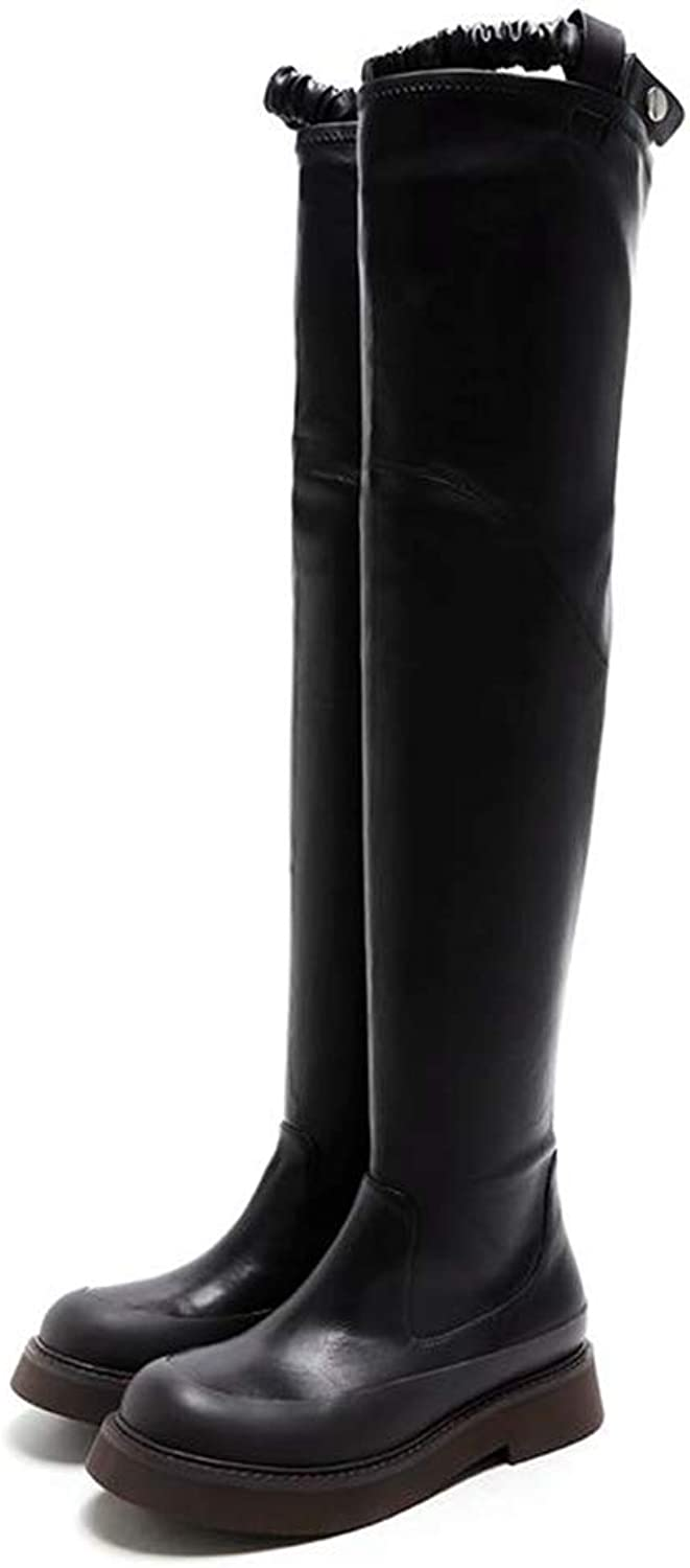 Winter Boots Sexy Womens shoes Stretch Fabric+Cow Leather Boots Round Toe Look Slimmer Over The Knee Boots