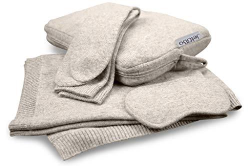 Jet&Bo 100% Pure Cashmere Travel Set: Blanket, Eye Mask, Socks, Carry/Pillow Case Sand