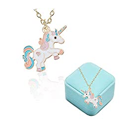 💕Rainbow Unicorn Necklace:Unicorn Symbolizes of Peace, Hope and Purity, it brings you good luck.Gift this necklace and give the loved one a magical surprise. 💕Size:Chain:45cm(17.5in)+5cm(1.9in),Unicorn:2.6cm(1in)x3.6cm(1.4in) 💕High Quality Material:N...