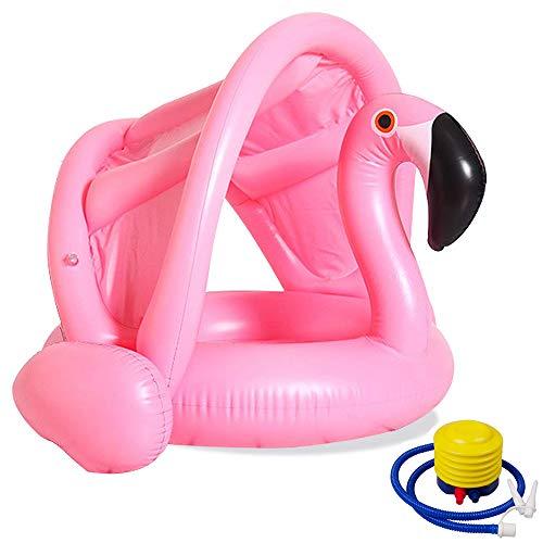 Aperil Anillo de baño para bebés con sombrilla Flamencos Bebé recién nacido Flotador de la piscina Niños que nadan Anillo inflable Techo flotante y bragas Flotador para 0 1 2 3 4 Años 6 18 meses
