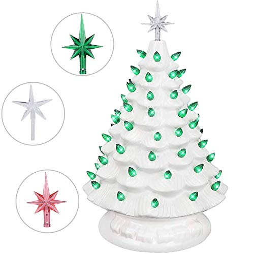 Brobery 16in Pre-Lit Tabletop Ceramic Christmas Tree with Music Box Hand-Painted Artificial Ceramic Christmas Tree with...