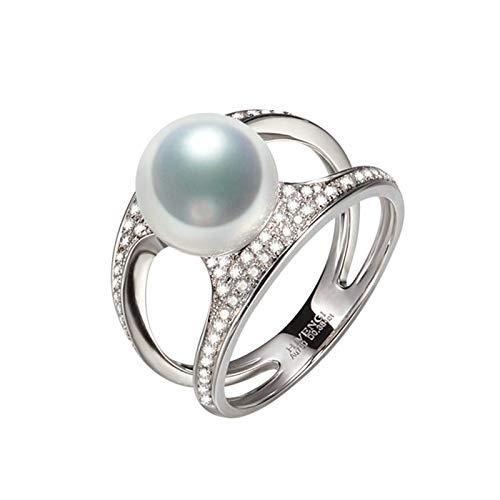 KnSam 18K Oro Blanco Anillo, Anillo de Compromiso con Perla Diamante Blanco, Perla Blanco, Color Oro Blanco - Talla 13,5