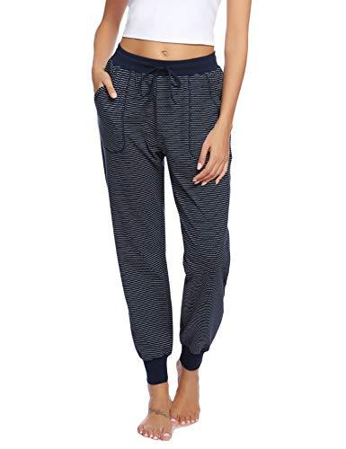 Aibrou Pantalón Mujer de Algodón para Correr Pantalon Chandal Mujer Largos Pantalones de Deporte Yoga Fitness Jogger de Rayas